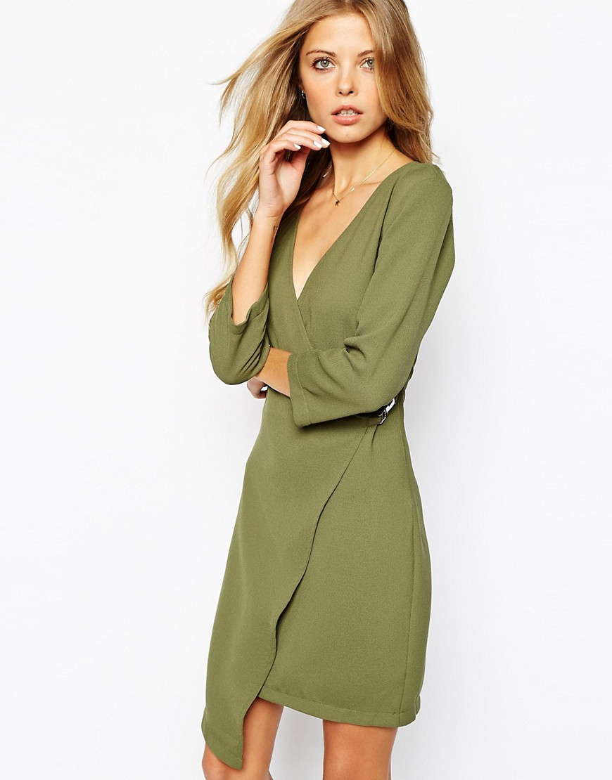 Vila Asymmetric Long Sleeve Wrap Dress - Green