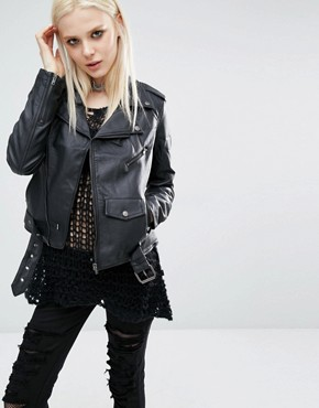 Tripp NYC Faux Leather Moto Biker Jacket