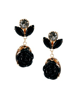 Image 1 ofASOS Mini Gem Flower Drop Earrings