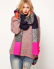 Lauren McCalmont For ASOS Foil Print Love My Winter Warmers Glad The Boiler Broke Scarf