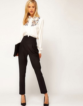 Image 1 ofASOS High Waist Evening Trousers