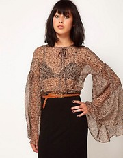 Goldie Sheer Blouse With Flute Sleeves