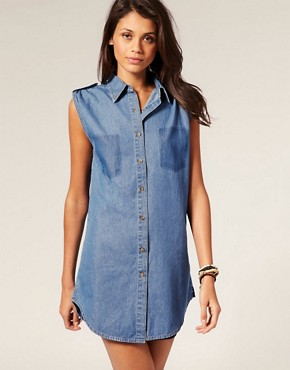Image 1 ofMotel Pocket Print Sleeveless Denim Maddison Shirt