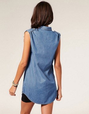 Image 2 ofMotel Pocket Print Sleeveless Denim Maddison Shirt
