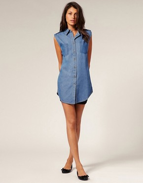 Image 4 ofMotel Pocket Print Sleeveless Denim Maddison Shirt
