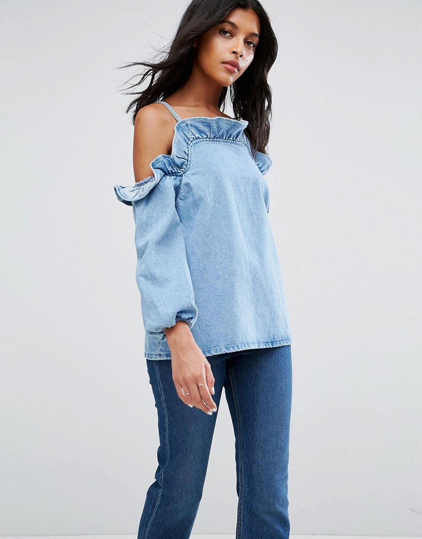 ASOS Denim Cold Shoulder Top With Ruffle in Midwash Blue - Blue