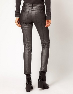 Image 2 ofFree People Foiled Skinny Jeans in Panelled Ponti