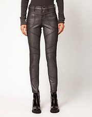 Free People Foiled Skinny Jeans in Panelled Ponti