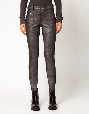 Image 1 ofFree People Foiled Skinny Jeans in Panelled Ponti