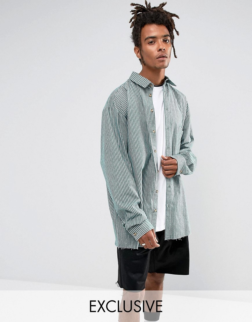 Reclaimed Vintage Inspired Oversized Shirt In Stripe Reg Fit - Green