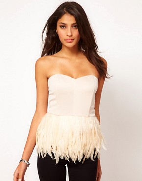 Image 1 ofASOS Bustier with Feather Peplum