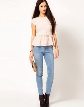 Image 4 ofRiver Island Textured Peplum Top