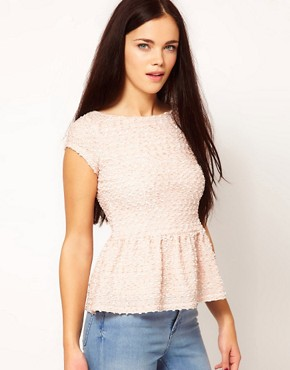 Image 1 ofRiver Island Textured Peplum Top