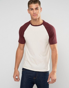 ASOS Muscle T-Shirt With Contrast Raglan Sleeves In Off White And Oxblood