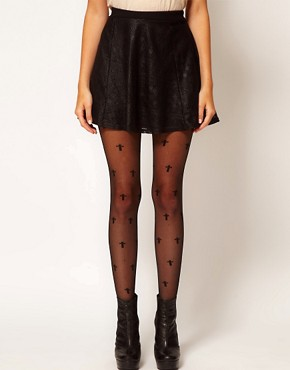 Image 1 ofASOS Sheer Cross All Over Tights