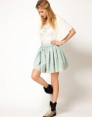 Denim &amp; Supply By Ralph Lauren Broderie Trimmed Chambray Skirt