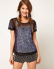 ASOS Top with Hologram Panel Embellishment