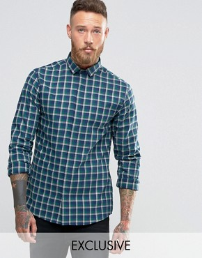 Heart & Dagger Slim Shirt In Check With Cut Away Collar