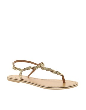Image 1 ofASOS FLASH Flat Sandals with Glitter Detail
