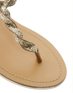 Image 2 ofASOS FLASH Flat Sandals with Glitter Detail