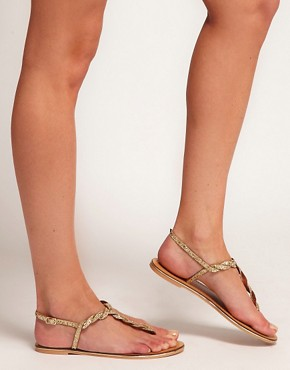Image 3 ofASOS FLASH Flat Sandals with Glitter Detail