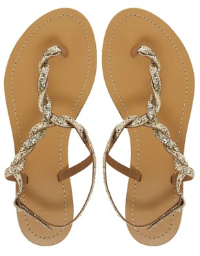 Image 4 ofASOS FLASH Flat Sandals with Glitter Detail