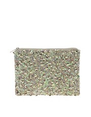 Clutch con cremallera en la parte superior y lentejuelas y adorno de ASOS