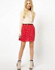 River Island Button Through Mini Skirt In Print