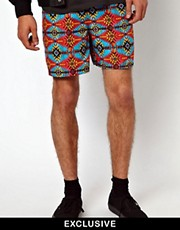 Reclaimed Vintage  Stoffshorts mit Aztekenmuster
