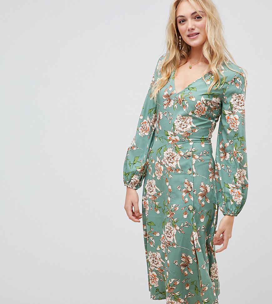 Imagen principal de producto de Vestido midi con estampado floral y detalle de botones de Influence Tall - Influence Tall