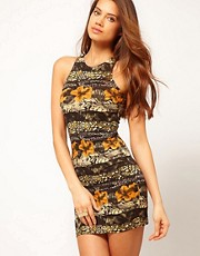 Motel New Zoe Dress In Animal Flower Print
