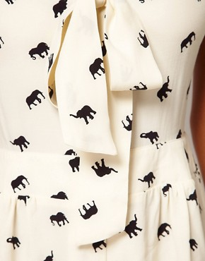 Image 3 ofASOS Pussybow Playsuit with Elephant Print