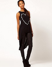 River Island Skeleton Heart Tunic Top