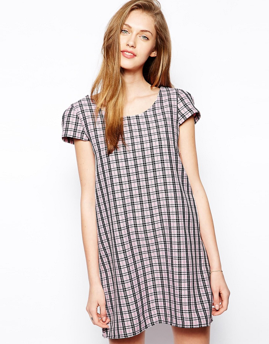 Love Check Shift Dress - Pink