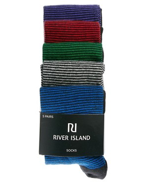 Image 3 ofRiver Island 5 Pack Multi Stripe Socks