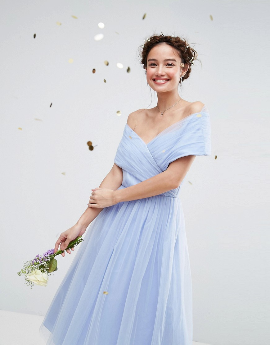 ASOS WEDDING Tulle Midi Dress - Baby blue