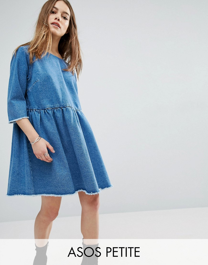 ASOS PETITE Denim Smock Dress In Midwash Blue - Blue