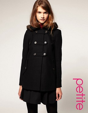 Image 1 ofASOS PETITE Fur Hood A-Line Coat