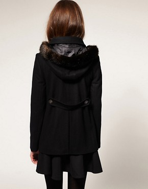 Image 2 ofASOS PETITE Fur Hood A-Line Coat