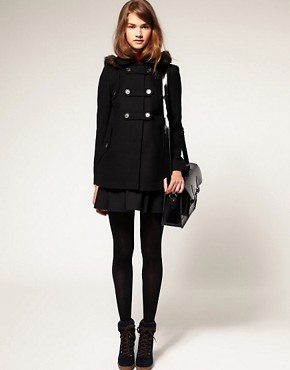Image 4 ofASOS PETITE Fur Hood A-Line Coat