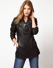 Urban Code Longline Leather Biker Jacket