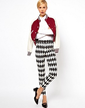 Image 1 of ASOS Pants In Diamond Jacquard