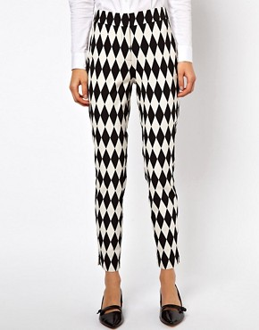 Image 4 ofASOS Trousers In Diamond Jacquard