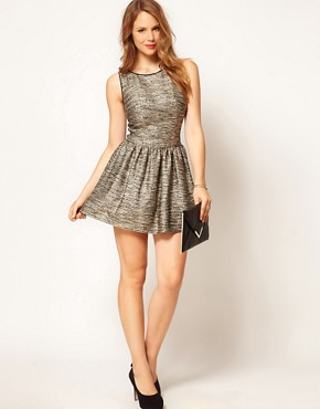 Image 1 ofCoast Teasel Metallic Dress with Full Skirt