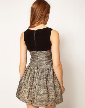 Image 2 ofCoast Teasel Metallic Dress with Full Skirt