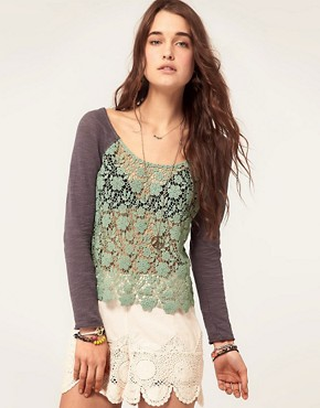 Image 1 ofFree People Crochet Front Jersey Top