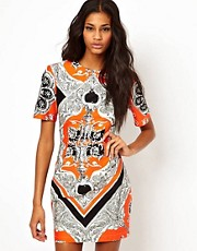 ASOS Blocked Mini Dress In Scarf Print