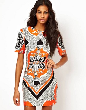 Image 1 of&#160;ASOS Blocked Mini Dress In Scarf Print