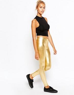 American Apparel High Rise Leggings In Metallic Gold