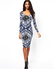 ASOS Midi Bodycon Dress in Bandana Print